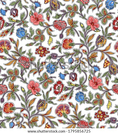 Seamless beautiful ethnic floral Indian Paisley pattern on white background summer colorful pattern