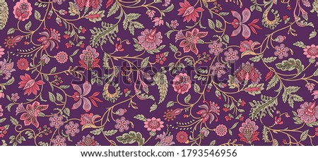 Seamless beautiful ethnic floral Paisley pattern on background