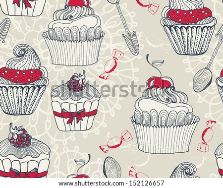 Seamless Beautiful retro Background with cupcakes