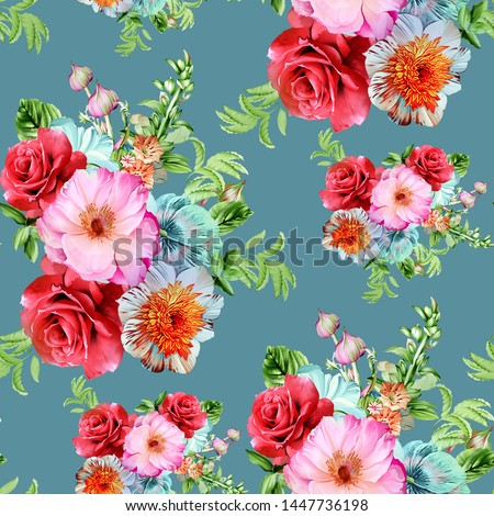 seamless beautiful watercolor botanical red  rose flower with leaves bunch pattern on green background