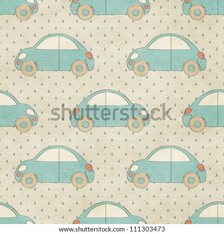 Seamless beetle car pattern on paper texture.