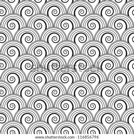 Seamless black and white floral background with spiral growing plants. Raster version of the vector image