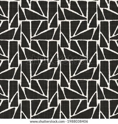 Seamless black white woven cloth geometric  linen texture. Two tone  monochrome pattern background.  Modern textile weave effect. Masculine shape motif repeat jpg print.   Stock fotó ©