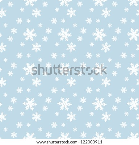 Seamless blue pattern with snowflakes. (Raster version)