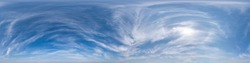 Seamless blue sky hdri panorama 360 degrees angle view with zenith and beautiful clouds for use in 3d graphics as sky dome or edit drone shot