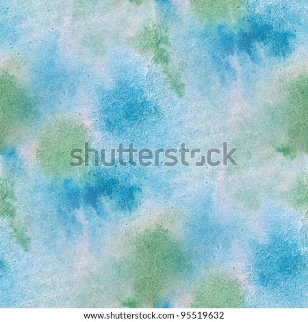 Seamless Blue with Green Watercolor