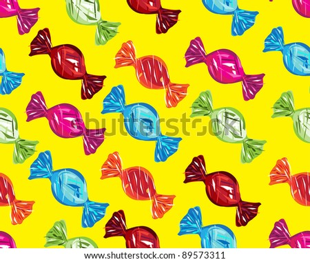 seamless boiled sweets on yellow background, Raster version - Vector version is also available. - stock photo