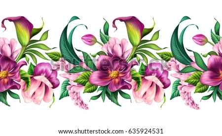 seamless border, botanical illustration, beautiful tropical flowers, floral clip art, isolated on white background