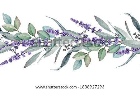 Seamless border from lavender and eucalyptus watercolor illustration. Natural organic herbs mixed in elegant ornament. Hand drawn eucalyptus branch with lavender flowers in elegant seamless border.