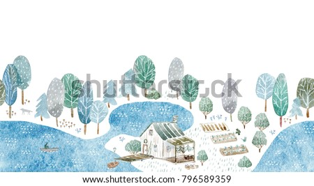 Seamless border of a fisherman's house and garden.Landscape of a forest, lake, road and lake.Watercolor hand drawn illustration.White background.