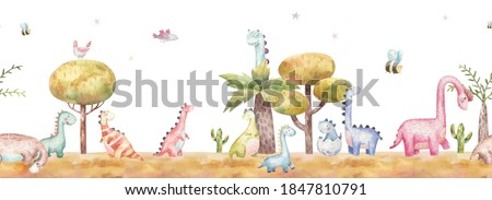 seamless border pattern with dinosaurs in nature, trees, cacti, childrens watercolor illustration on a white background