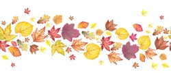 Seamless border with colorful autumn leaves. Watercolor illustration on white background.