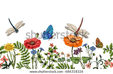Seamless border with dragonflies, butterflies, flowers, grass and plants. Summer style. Nature border, floral background. Horizontal banner with colorful plants