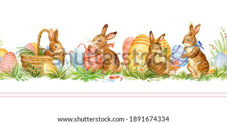 Seamless border with spring easter concept. Watercolor border with cute rabbits and easter eggs isolated on white background. For decor, print, wallpaper, tissue, scrapbooking, packaging paper