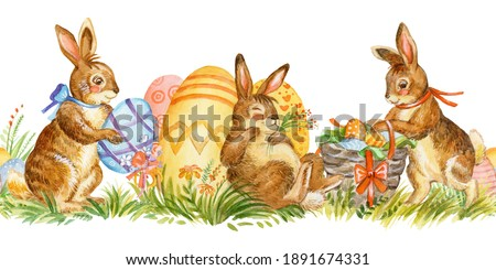 Seamless border with spring easter concept.Watercolor border with cute rabbits characters and easter eggs isolated on white background.For decor, print, wallpaper, tissue, scrapbooking,packaging paper