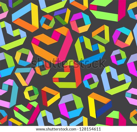 Seamless bright background with paper heart and geometrical figures in origami style for Valentine's design