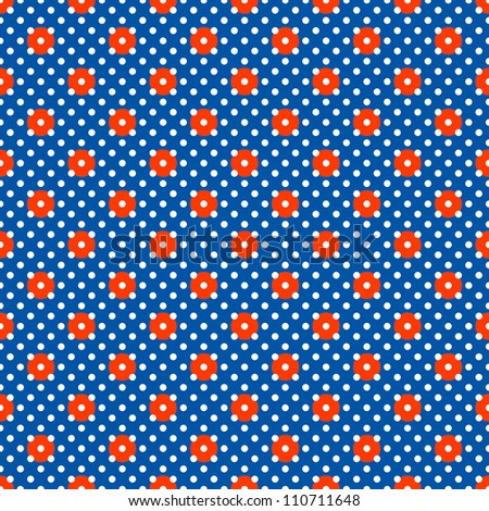 Seamless Bright Red, White, & Blue Dots