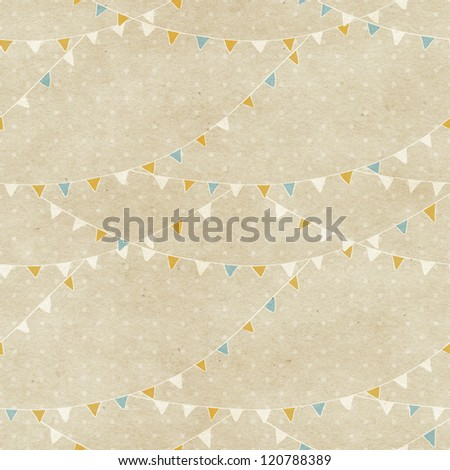 Seamless bunting flags pattern on paper texture