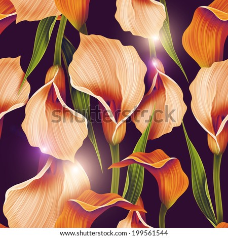Seamless calla lilly flower background elegant fashion colorful pattern with flowers