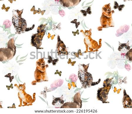 Seamless cats & butterflies. Peony. Kitten hunts on a butterfly. Watercolor hand drawn illustration