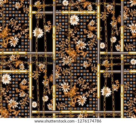 seamless chain, belt, fowers, geometric patchwork fabric pattern. scarf print