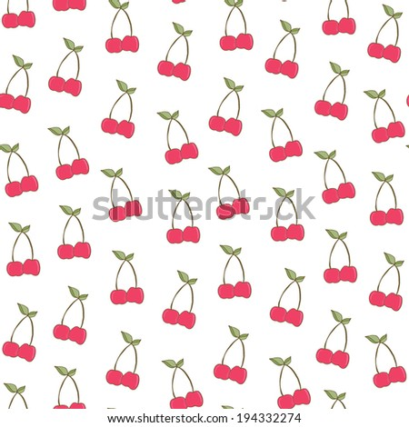 Cute Cherries Background Seamless Cherry Background Cute Cherries Background Pattern