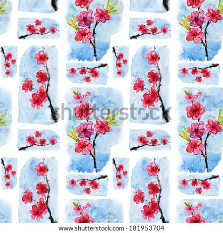 seamless cherry sakura blossom flowers pattern watercolor painting