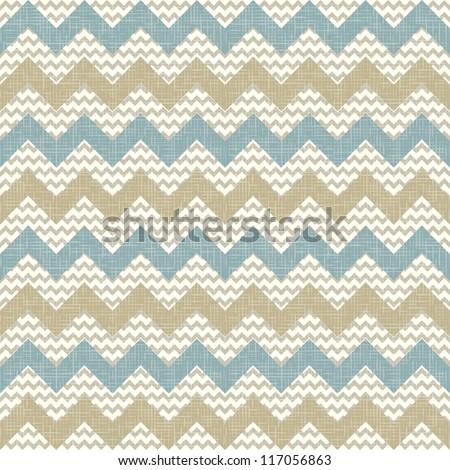 Seamless chevron pattern on linen texture. Zigzag background
