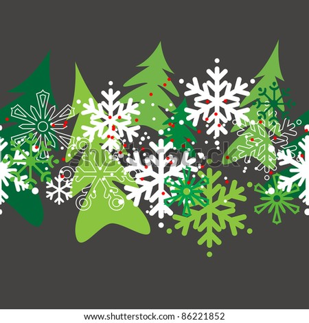Seamless christmas pattern with stylized snowflakes and trees. Raster version.