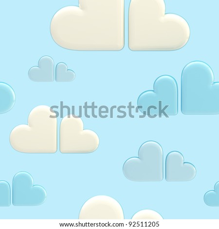 Seamless cloud background made of white and blue symbolic glossy hearts