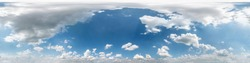 Seamless cloudy blue sky hdri panorama 360 degrees angle view with beautiful clouds  with zenith for use in 3d graphics or game as sky dome or edit drone shot
