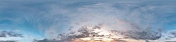 Seamless cloudy blue sky hdri panorama 360 degrees angle view with zenith and beautiful clouds for use in 3d graphics or game development as sky dome or edit drone shot