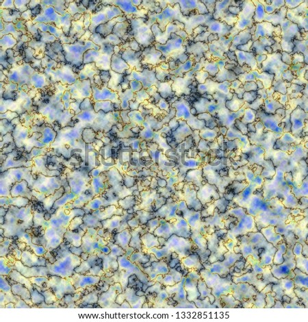 Seamless cloudy pattern with black veins on colorful deckle-edged spots. Bright blue and yellow deckle-edged spots.