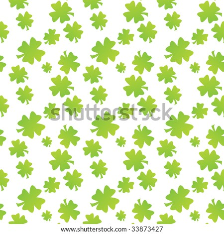 Seamless clover leaf pattern fabric texture - stock photo