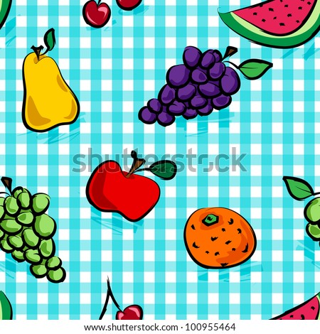 Seamless collection of grungy, crude, rough outline hand drawn fruits with shadows over light blue gingham pattern, perfect picnic table cloth.