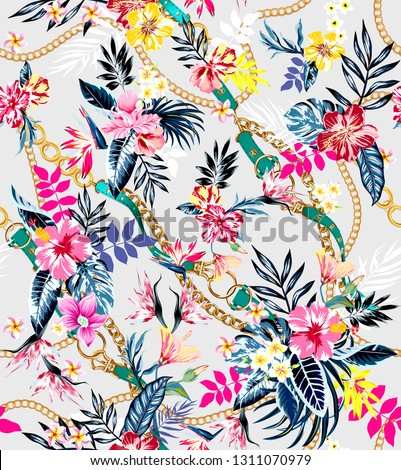 Seamless colored tropical flowers with belts and chains ready for textile print; Retro Hawaiian style floral arrangement, vintage style with white background.