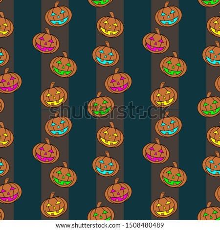 Seamless Colorful Carved Pumpkins Lanterns With Different Light Colors On Vertical Striped Background. Vertical Pattern