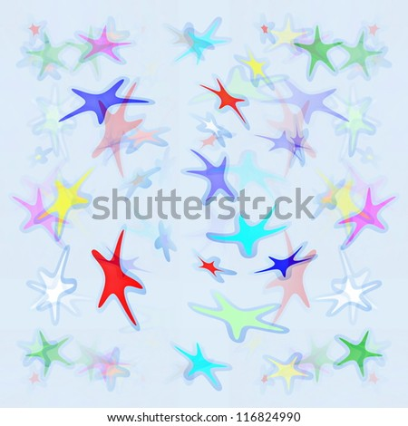 seamless colorful stars with blue background