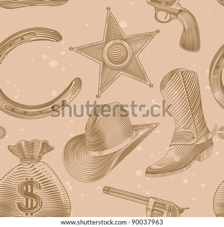seamless cowboy pattern in engraving style - illustration