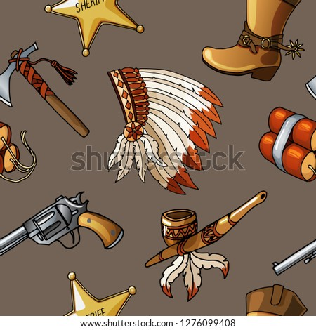 Seamless cowboys and indians pattern can be used for graphic design, boy kid textile, linen or web design isolated on brown background