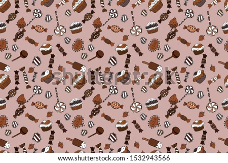 Seamless cupcakes hand drawn seamless pattern. Romantic ornament, backdrop design. Colorful background raster with collection of confectionery. Decorative wallpaper, good for printing.