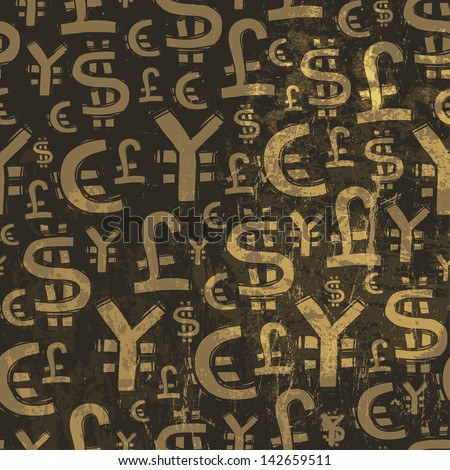 Seamless currency pattern on grunge texture. Raster version, vector file available in portfolio.