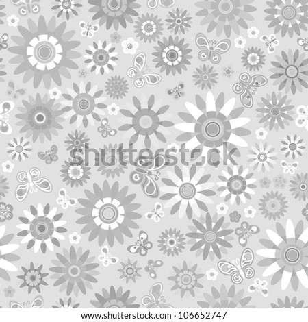 seamless - cute flower pattern with butterfly