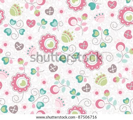 seamless cute funny flower pattern