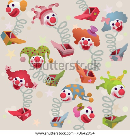 seamless cute jack in the box background - for vector version see image no. 69944476