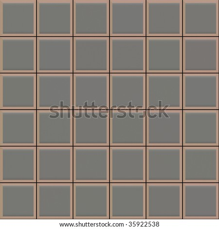 seamless 3d texture of grey tiles with brown borders and black mortar