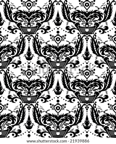Seamless Damask Pattern. Black And White. Royalty Free Cliparts
