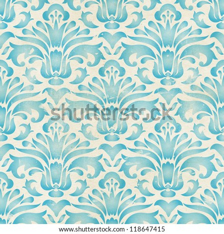 Seamless damask pattern on paper texture. Stencil art background