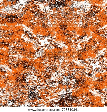 Seamless dark brown grunge background. Black white orange old weathered surface in horror style. Dirty spots, cracks, splashes. Abstract texture of a rusty aged surface. Light brown backdrop #725510341