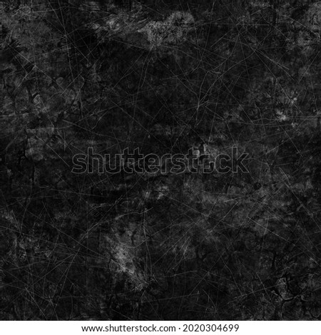 Seamless dark gray or black grungy dirty distressed background. High quality illustration. Messy scratched worn moody chalkboard or concrete wall texture. Ragged downtown tattered urban design. Foto stock ©